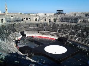 Los graderíos del circo romano en Nîmes.